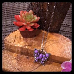 Long silver chain necklace with butterfly charm